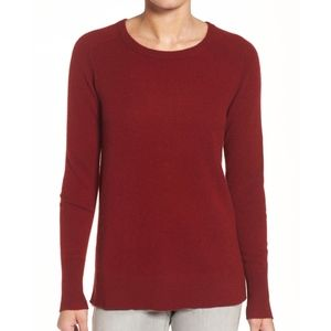 Halogen Red Crewneck Lightweight Cashmere Sweater